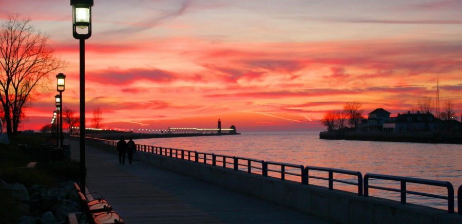 Grand Haven Boardwalk photo at Sunset for The Village Green of Grand Haven, MI 49417. A manufactured home community.